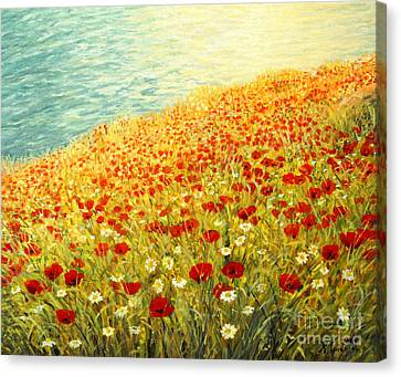 Poppies Of Kaliakra II Canvas Print by Kiril Stanchev