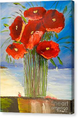 Poppies On The Window Ledge Canvas Print by Pamela  Meredith