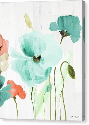 Poppies On Wood I Canvas Print