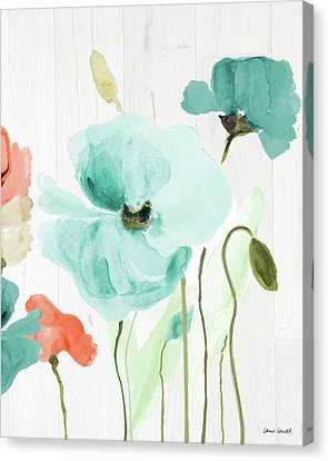 Poppies On Wood I Canvas Print by Lanie Loreth