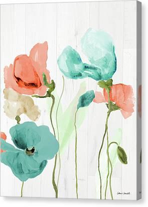 Poppies On Wood II Canvas Print by Lanie Loreth