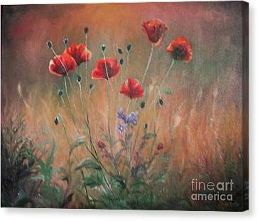 Canvas Print featuring the painting Poppies by Sorin Apostolescu
