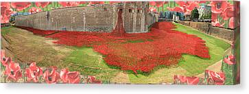 Poppies Tower Of London Collage Canvas Print