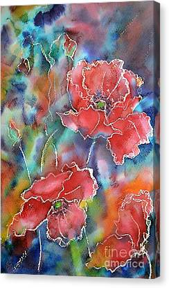 Poppy Abstract Canvas Print by Kathleen Pio