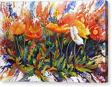 Poppy Blast Canvas Print by Karen Mattson