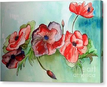 Poppy Bouquet Canvas Print by Iris Gelbart