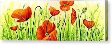 Poppy Field Canvas Print by Annie Troe