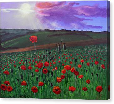 Canvas Print featuring the painting Poppy Field by Janet Greer Sammons