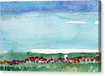 Poppy Field- Landscape Painting Canvas Print by Linda Woods