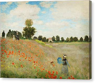 Poppy Field  Near Argenteuil Canvas Print by Celestial Images