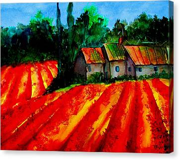 Poppy Field  Sold Canvas Print by Lil Taylor