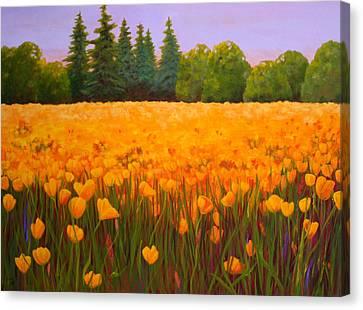 Poppy Fields Forever Canvas Print by Nancy Jolley