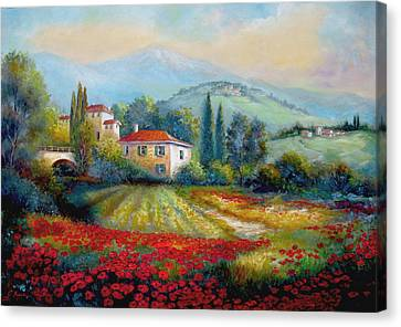 Poppy Fields Of Italy Canvas Print by Regina Femrite