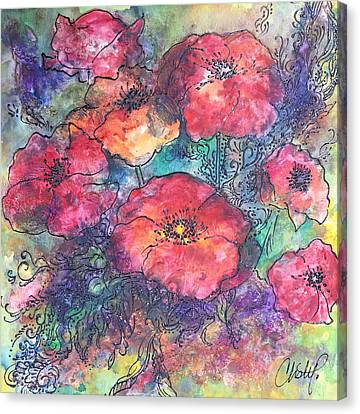Canvas Print featuring the painting Poppy Flower Splash Of Spring by Christy  Freeman