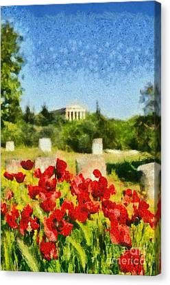 Poppy Flowers In Ancient Market Of Athens Canvas Print by George Atsametakis