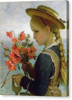 Poppy Girl Canvas Print by Karl Wilhelm Friedrich Bauerle