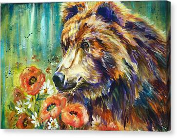 Poppy Mountain Bear Canvas Print by P Maure Bausch