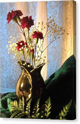 Porcelain Petal Vase 1 With Carnations Canvas Print