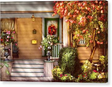 Porch - Cranford Nj - Simply Pink Canvas Print by Mike Savad