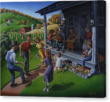 Rural Landscapes Canvas Print - Porch Music And Flatfoot Dancing - Mountain Music - Appalachian Traditions - Appalachia Farm by Walt Curlee