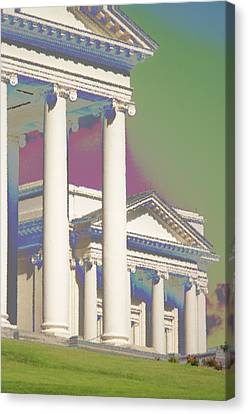 Canvas Print featuring the photograph Porch Of State Capitol Richmond Va by Suzanne Powers