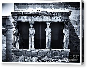 Greek School Of Art Canvas Print - Porch Of The Caryatids by John Rizzuto