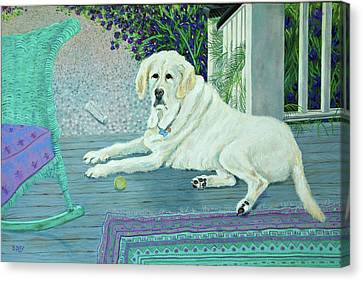 Porch Pooch Canvas Print