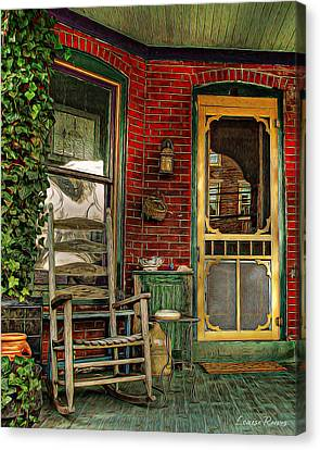 Screen Doors Canvas Print - Porch Rocker by Louise Reeves