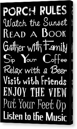 Porch Rules Poster Canvas Print
