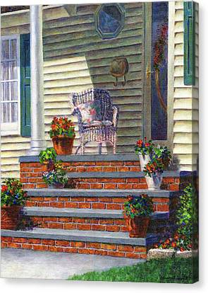 Porch With Pots Of Geraniums Canvas Print by Susan Savad