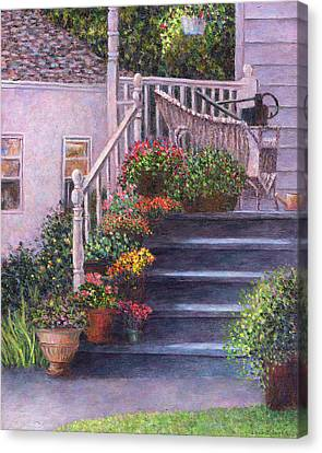 Porch With Watering Cans Canvas Print