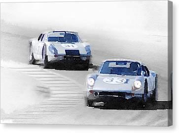 Porsche 904 Racing Watercolor Canvas Print by Naxart Studio