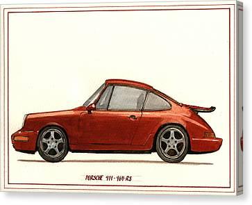 Porsche 911 964 Rs Canvas Print by Juan  Bosco