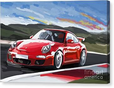Porsche 911 Gt3 Impressionist Canvas Print
