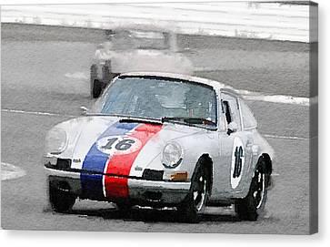 Porsche 911 Race In Monterey Watercolor Canvas Print