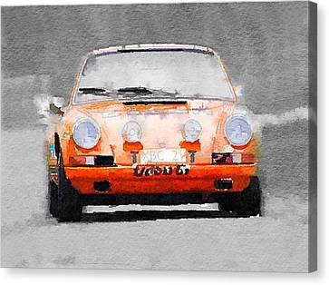 Porsche 911 Race Track Watercolor Canvas Print by Naxart Studio