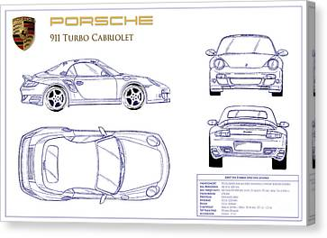 Porsche 911 Turbo Blueprint Canvas Print by Jon Neidert