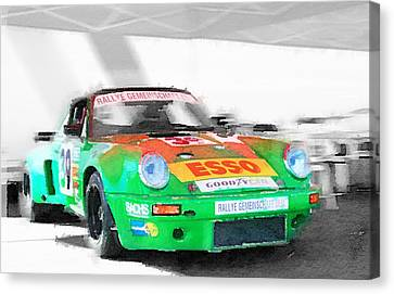 Porsche 911 Turbo Watercolor Canvas Print by Naxart Studio