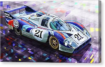 Porsche 917 Lh Larrousse Elford 24 Le Mans 1971 Canvas Print by Yuriy  Shevchuk