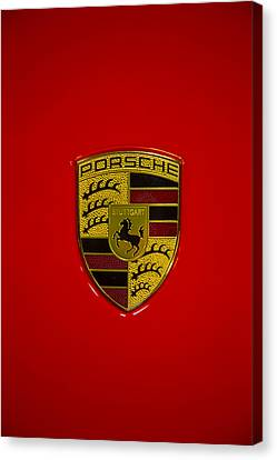 Porsche Emblem Red Hood Canvas Print