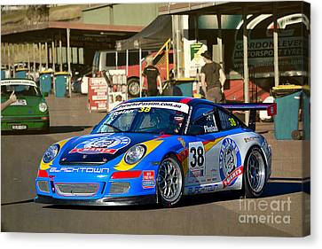 Porsche In The Pits Canvas Print