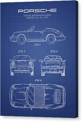 Porsche Patent From 1990 - Blueprint Canvas Print by Aged Pixel