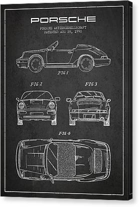 Porsche Patent From 1990 - Dark Canvas Print by Aged Pixel