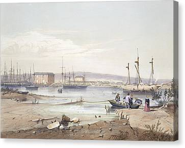 Sailboats Canvas Print - Port Adelaide From South Australia by George French Angas