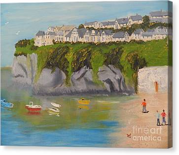 Canvas Print featuring the painting Port Asaac Cornwell by Pamela  Meredith