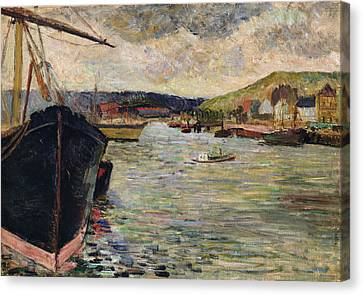 Port At Rouen Oil On Canvas Canvas Print