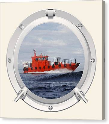 Canvas Print featuring the photograph Port Hole View by Roy  McPeak