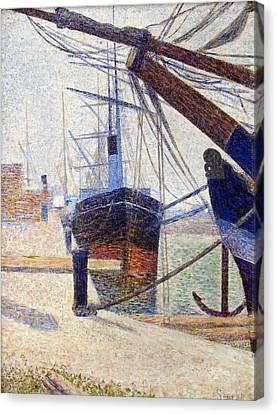Port In Honfleur Canvas Print by Georges Seurat