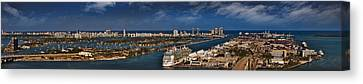 Port Of Miami Panoramic Canvas Print by Susan Candelario