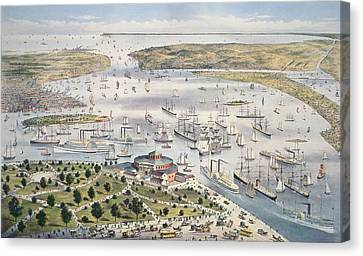 Port Of New York, Looking South Canvas Print by Currier and Ives